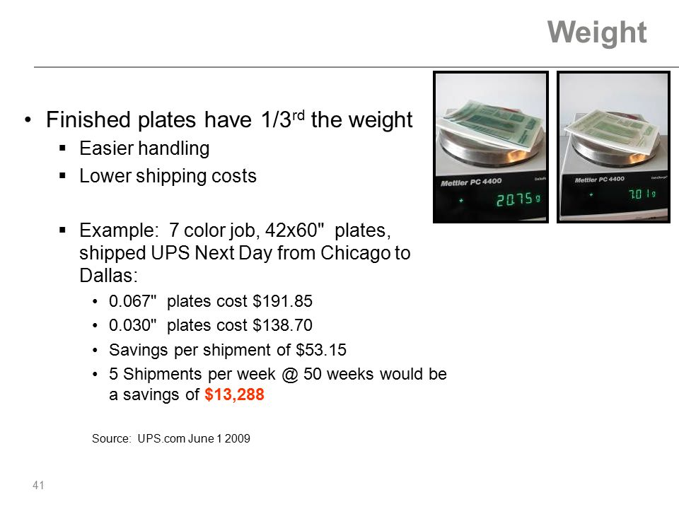 Weight Finished plates have 1/3rd the weight Easier handling
