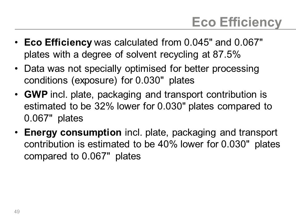 Eco Efficiency Eco Efficiency was calculated from 0.045 and 0.067 plates with a degree of solvent recycling at 87.5%