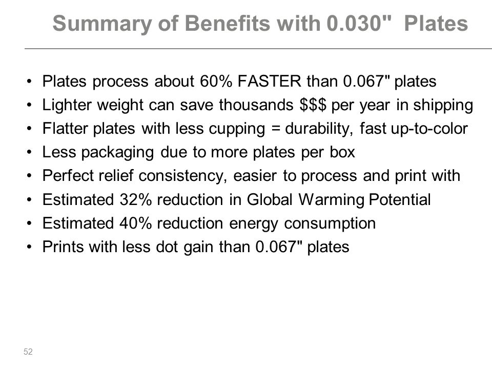 Summary of Benefits with 0.030 Plates