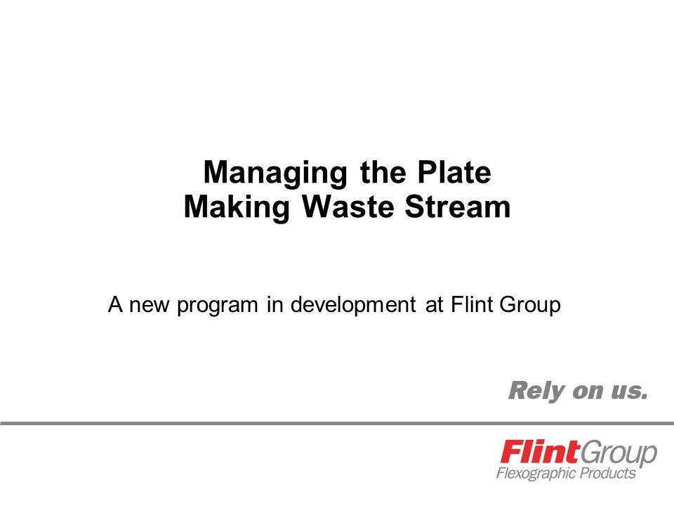 Managing the Plate Making Waste Stream