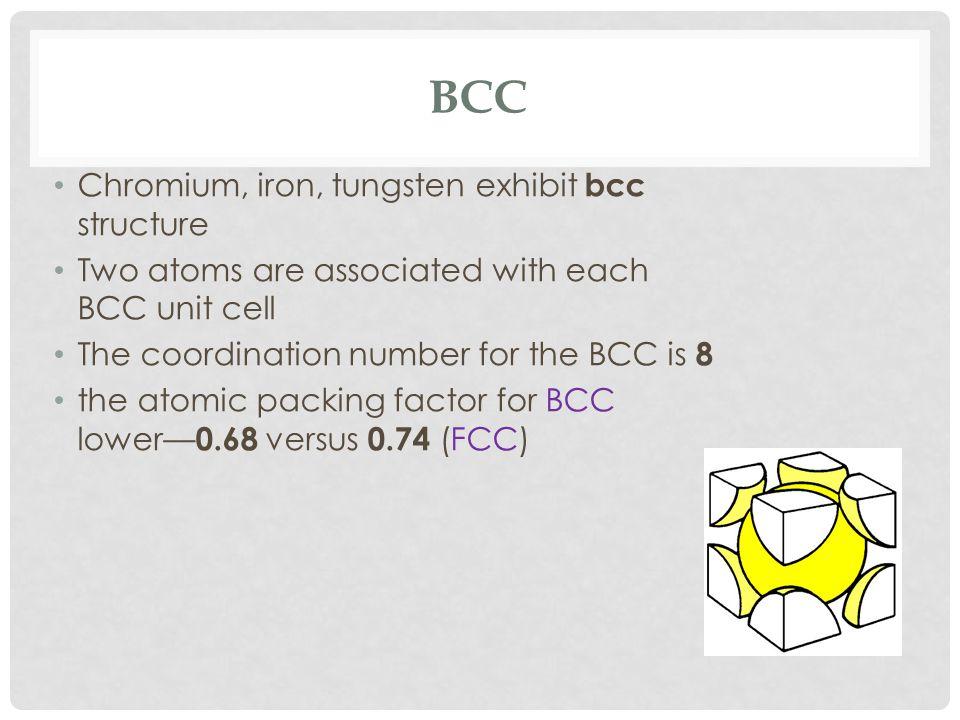 BCC Chromium, iron, tungsten exhibit bcc structure