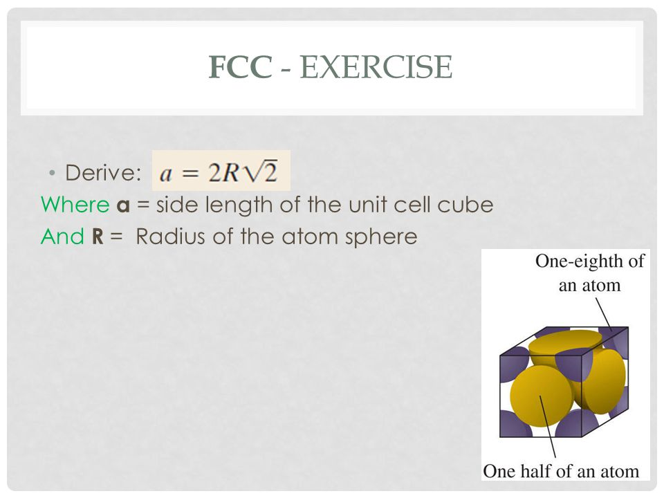FCC - Exercise Derive: Where a = side length of the unit cell cube