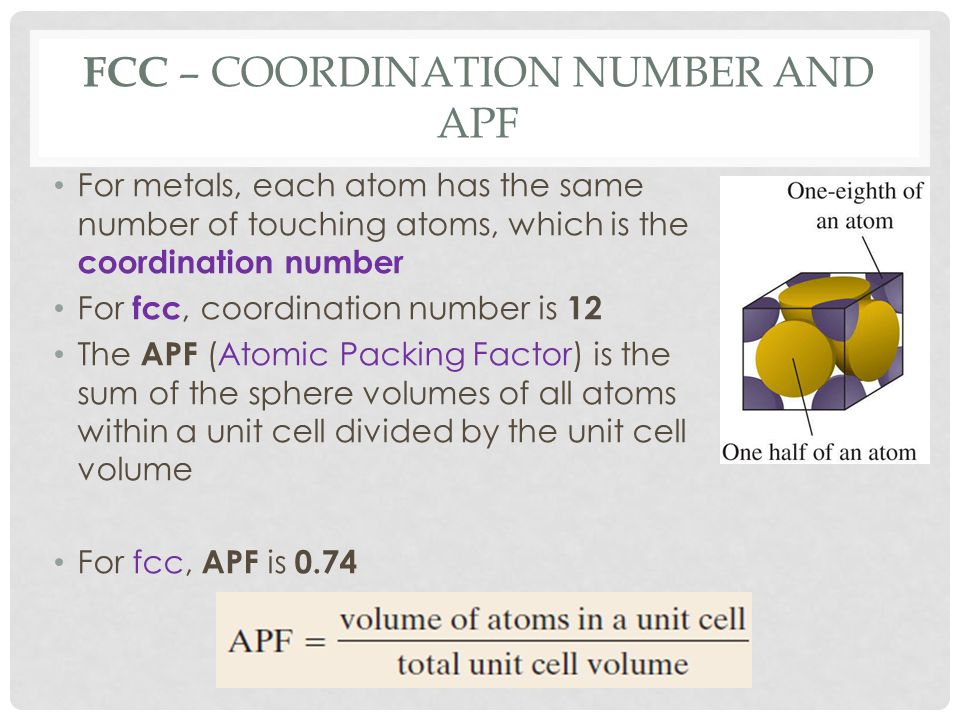 FCC – Coordination Number and APF