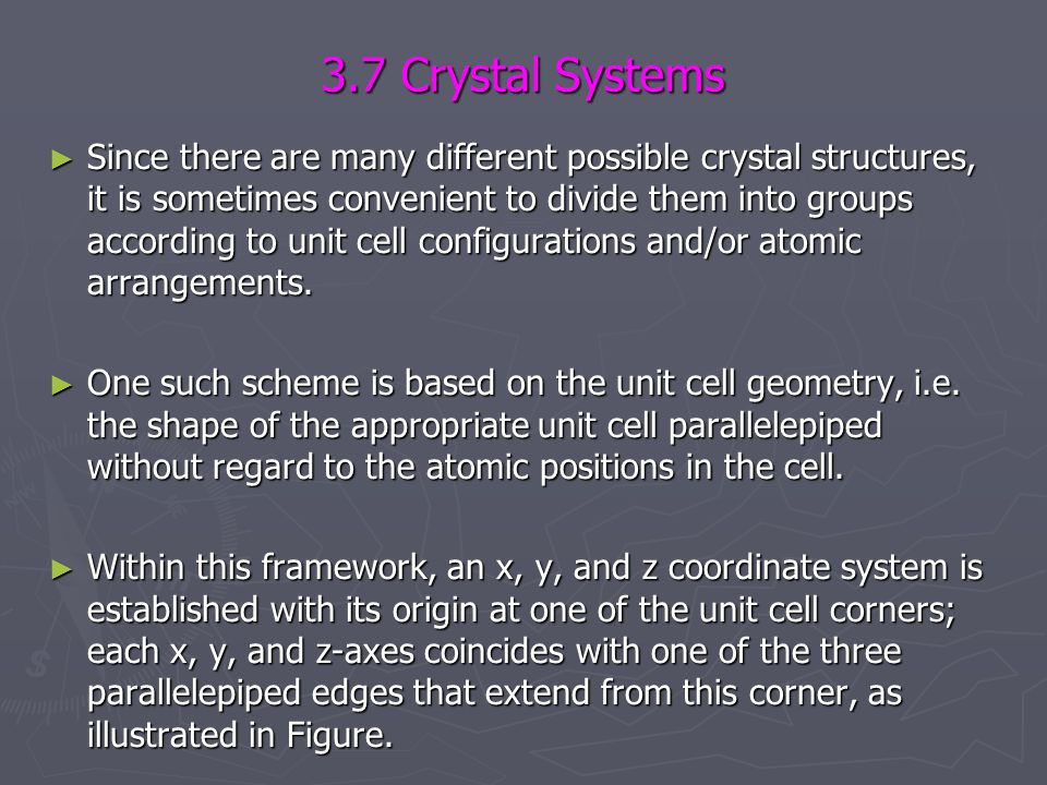 3.7 Crystal Systems