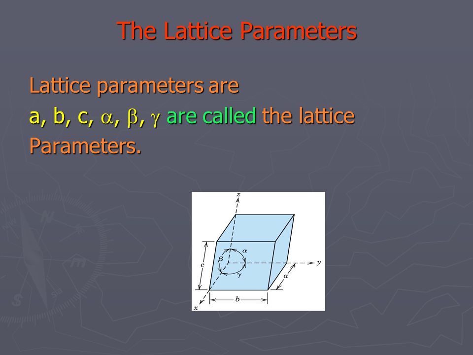 The Lattice Parameters