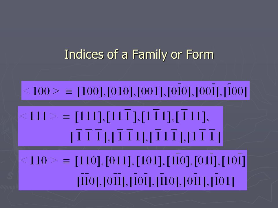 Indices of a Family or Form