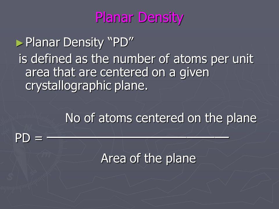 Area of the plane Planar Density Planar Density PD