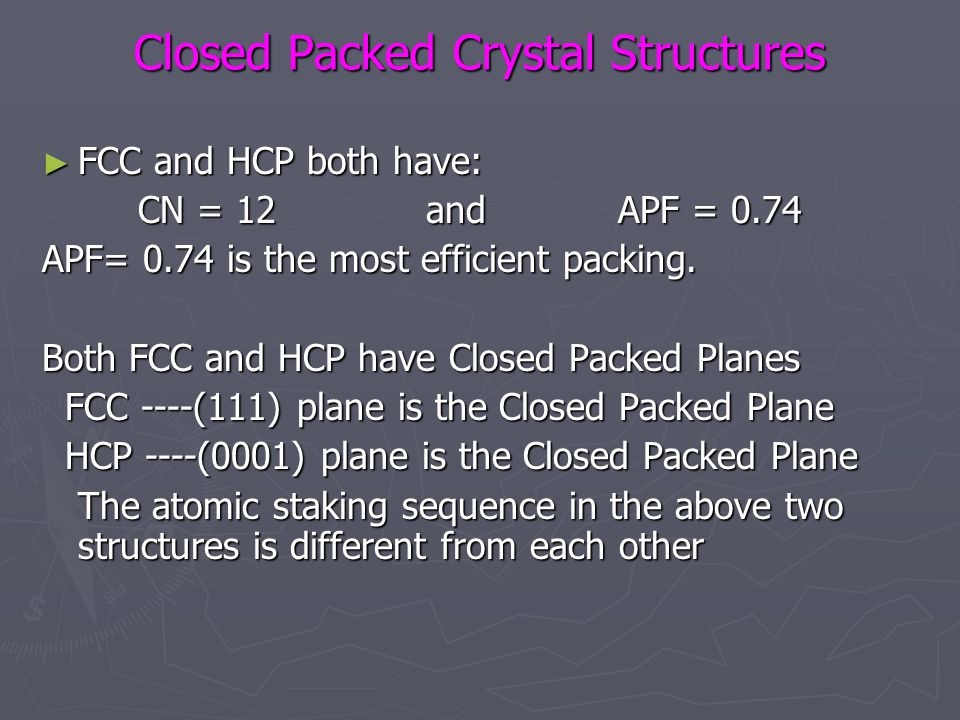 Closed Packed Crystal Structures