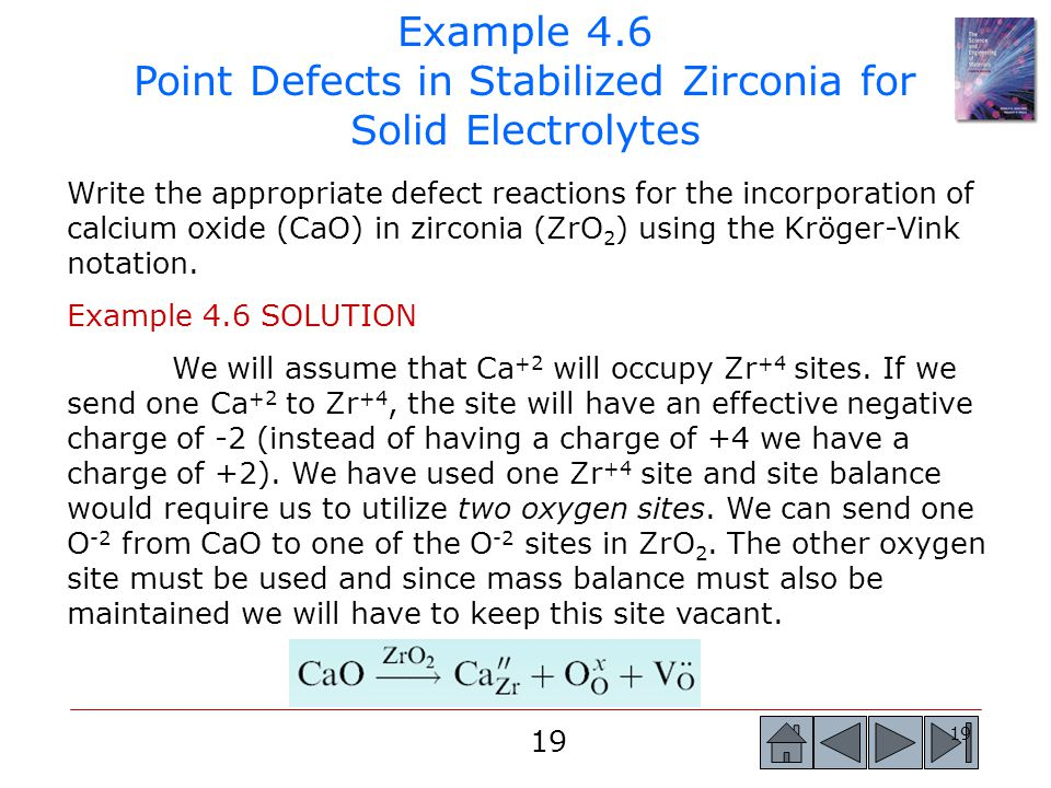 Example 4.6 Point Defects in Stabilized Zirconia for Solid Electrolytes