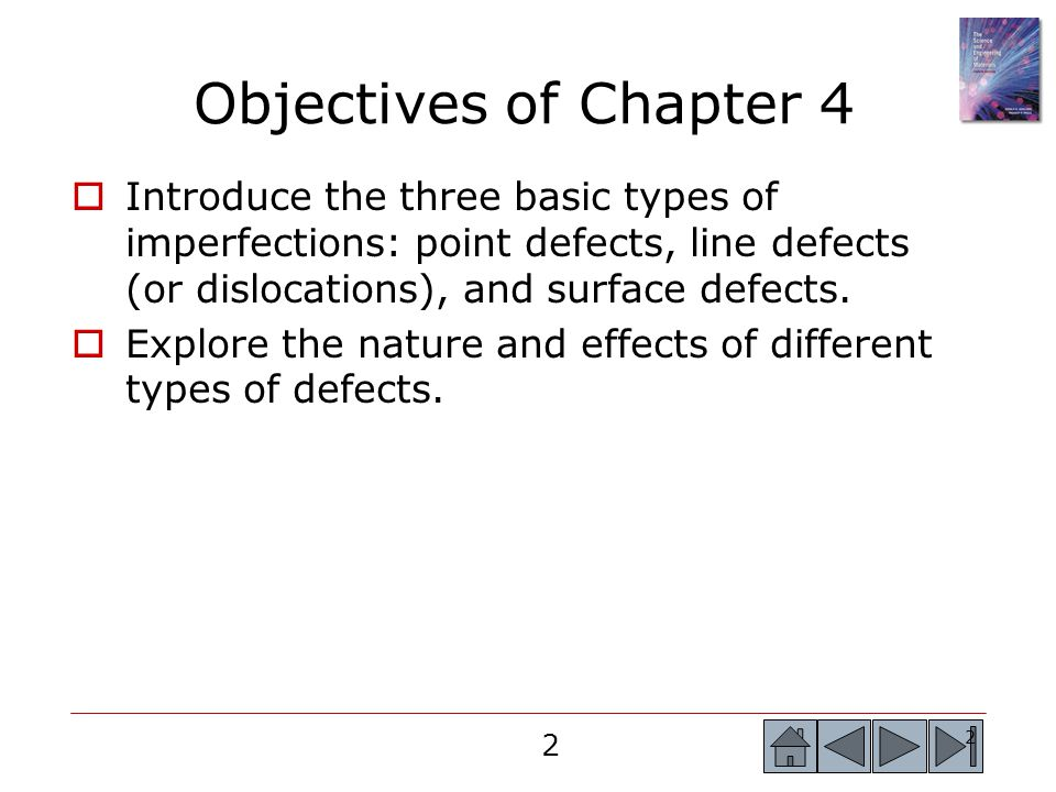 Objectives of Chapter 4 Introduce the three basic types of imperfections: point defects, line defects (or dislocations), and surface defects.