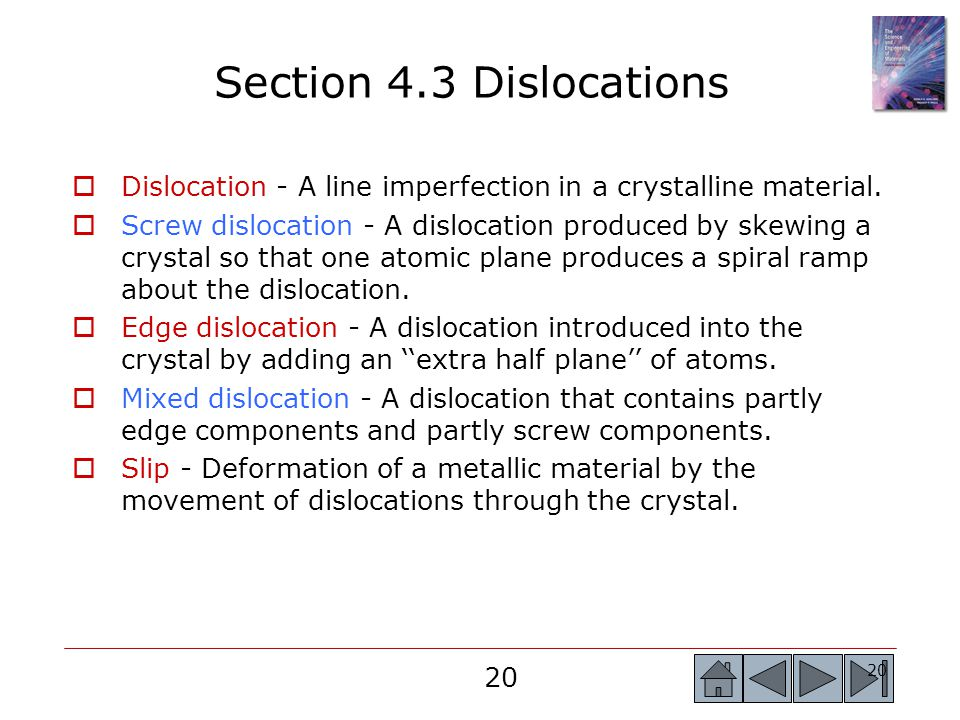 Section 4.3 Dislocations Dislocation - A line imperfection in a crystalline material.