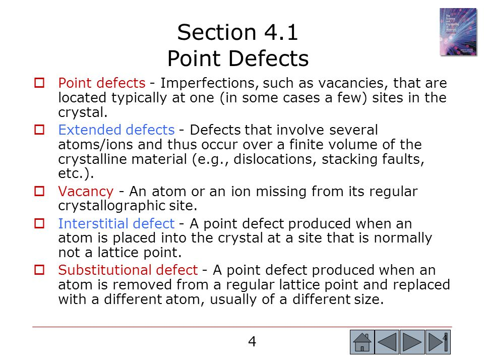 Section 4.1 Point Defects