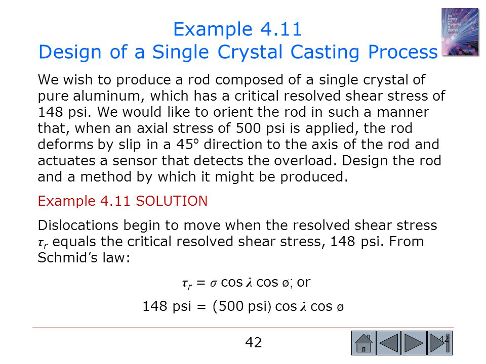 Example 4.11 Design of a Single Crystal Casting Process