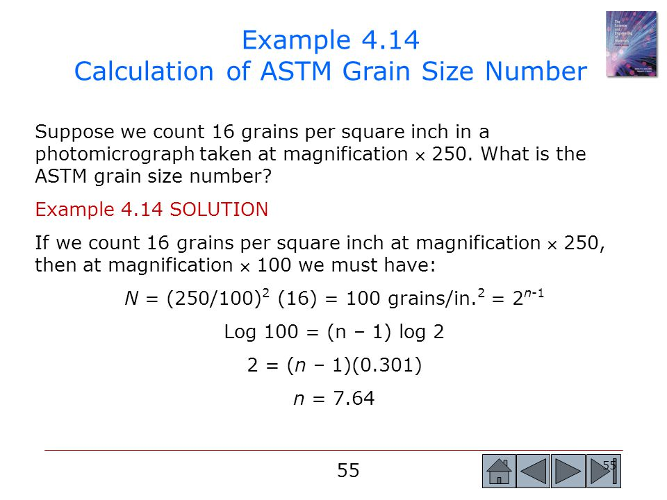 Example 4.14 Calculation of ASTM Grain Size Number