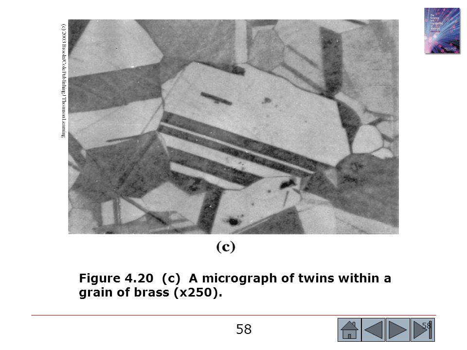 Figure 4.20 (c) A micrograph of twins within a grain of brass (x250).