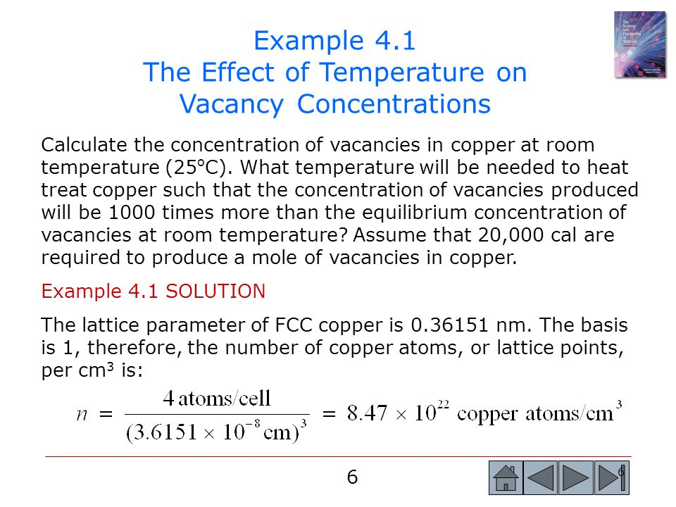 Example 4.1 The Effect of Temperature on Vacancy Concentrations