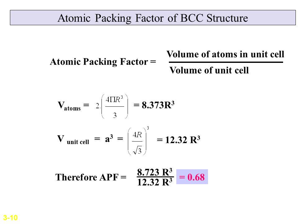 Atomic Packing Factor of BCC Structure
