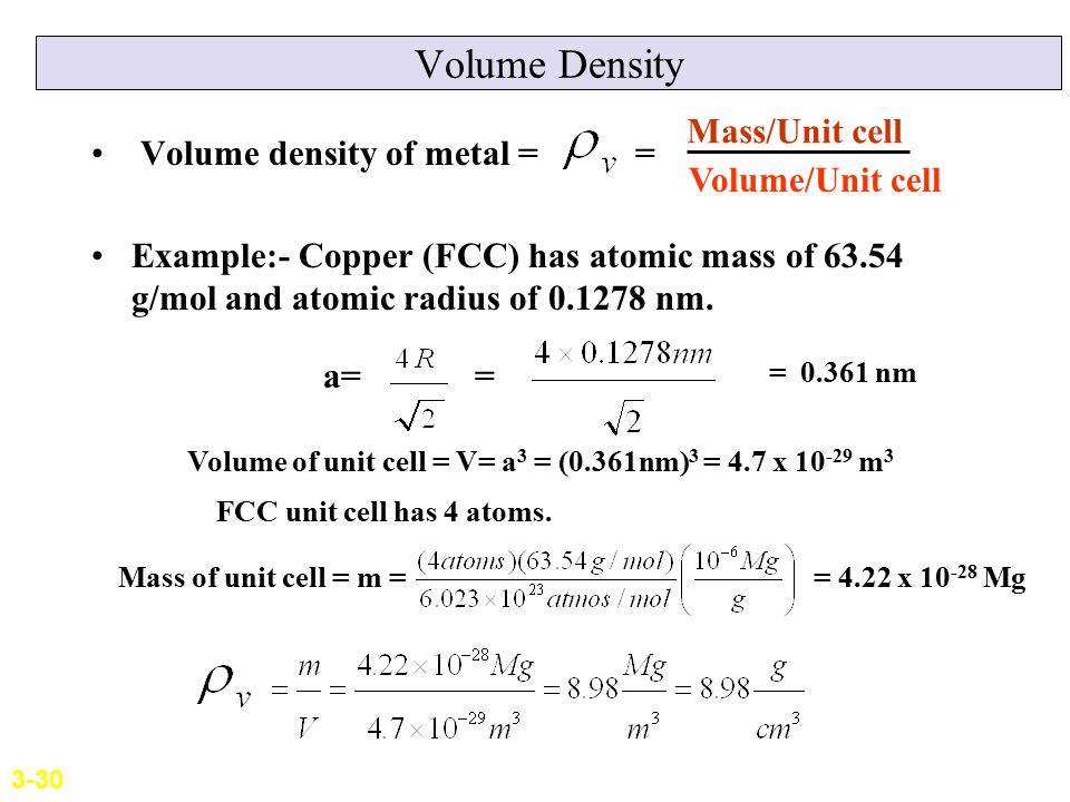 Volume Density Mass/Unit cell Volume density of metal =