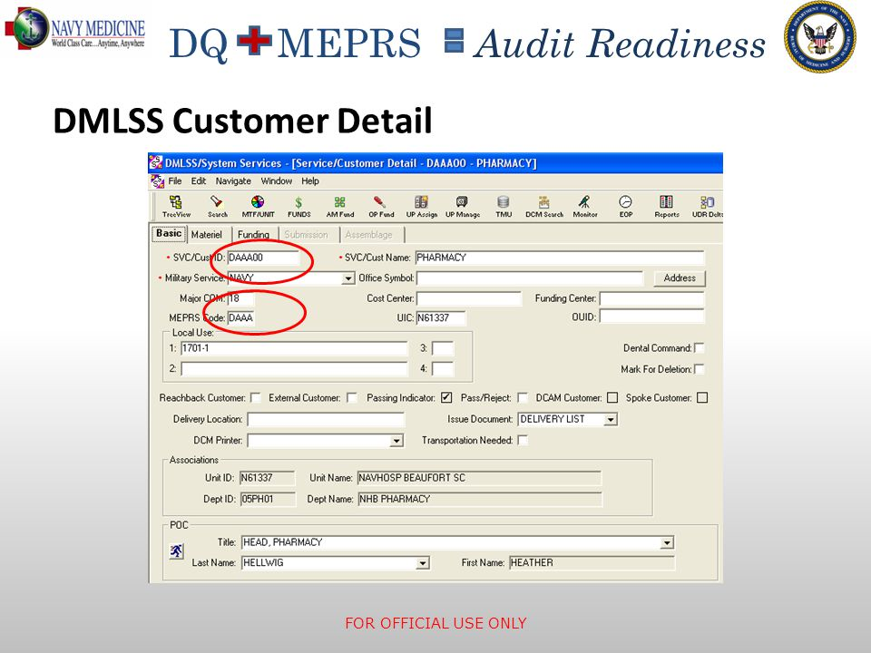 DMLSS Customer Detail Customer ID contains MEPRS code