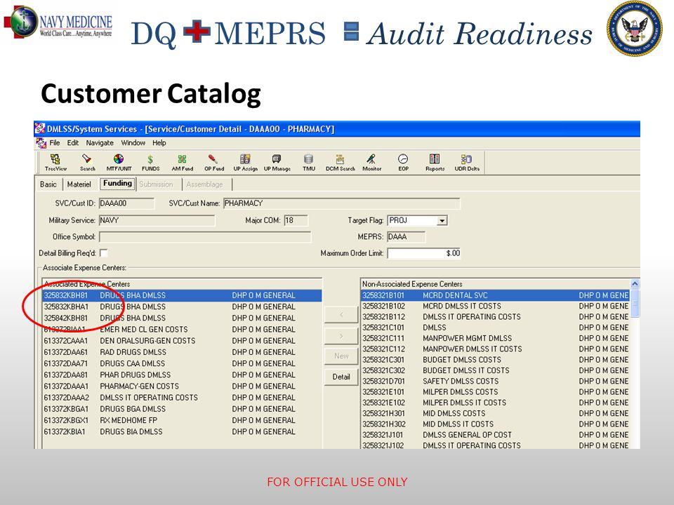 Customer Catalog Expense Center is the JON, which contains MEPRS code