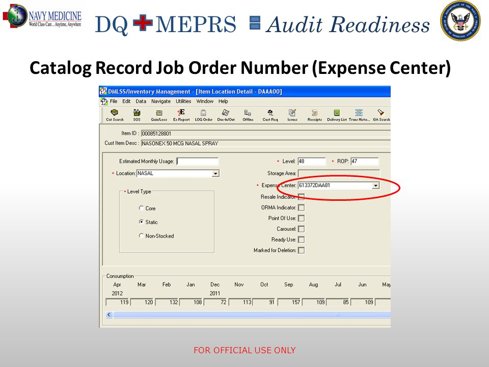 Catalog Record Job Order Number (Expense Center)
