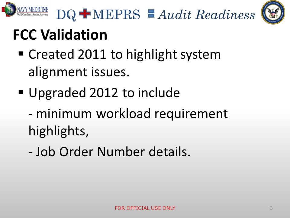 FCC Validation Created 2011 to highlight system alignment issues.