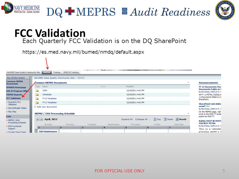 FCC Validation Each Quarterly FCC Validation is on the DQ SharePoint