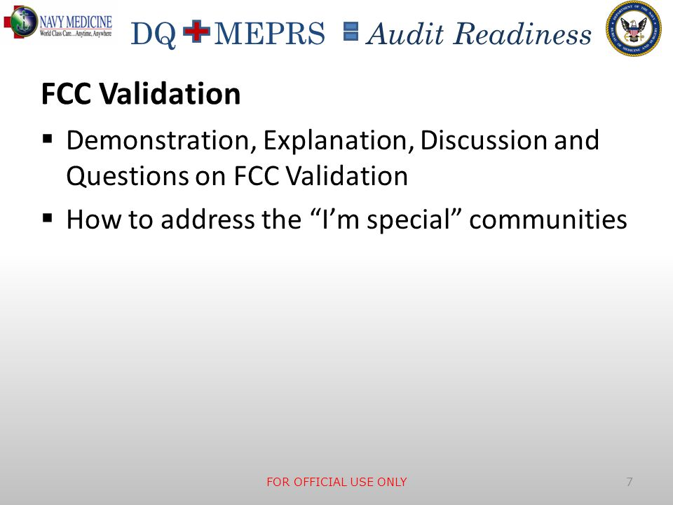 FCC Validation Demonstration, Explanation, Discussion and Questions on FCC Validation. How to address the I'm special communities.