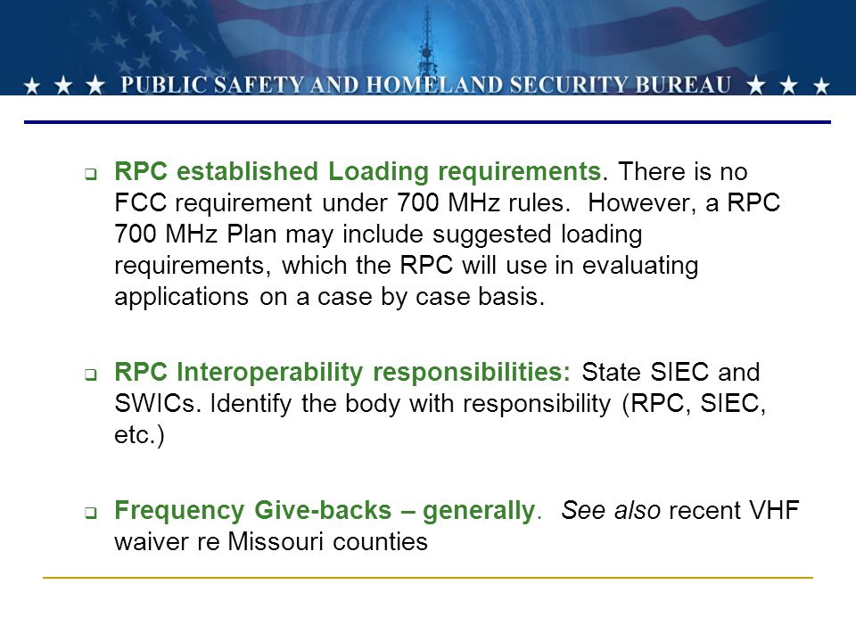 RPC established Loading requirements