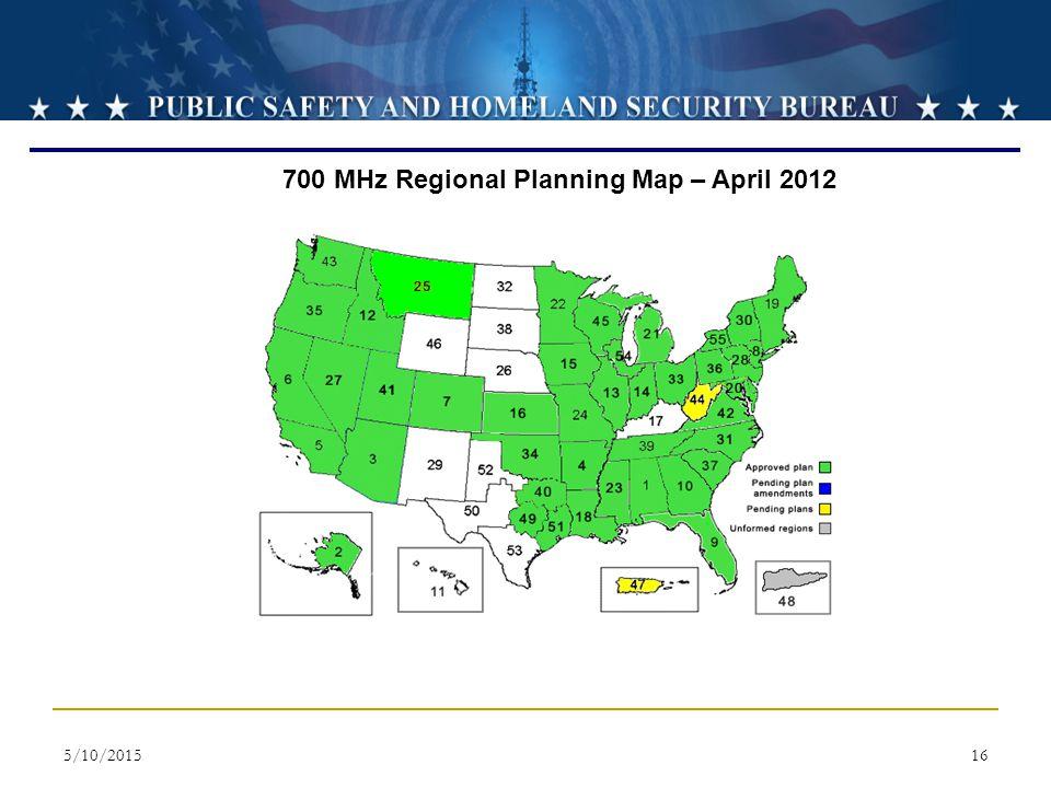 700 MHz Regional Planning Map – April 2012