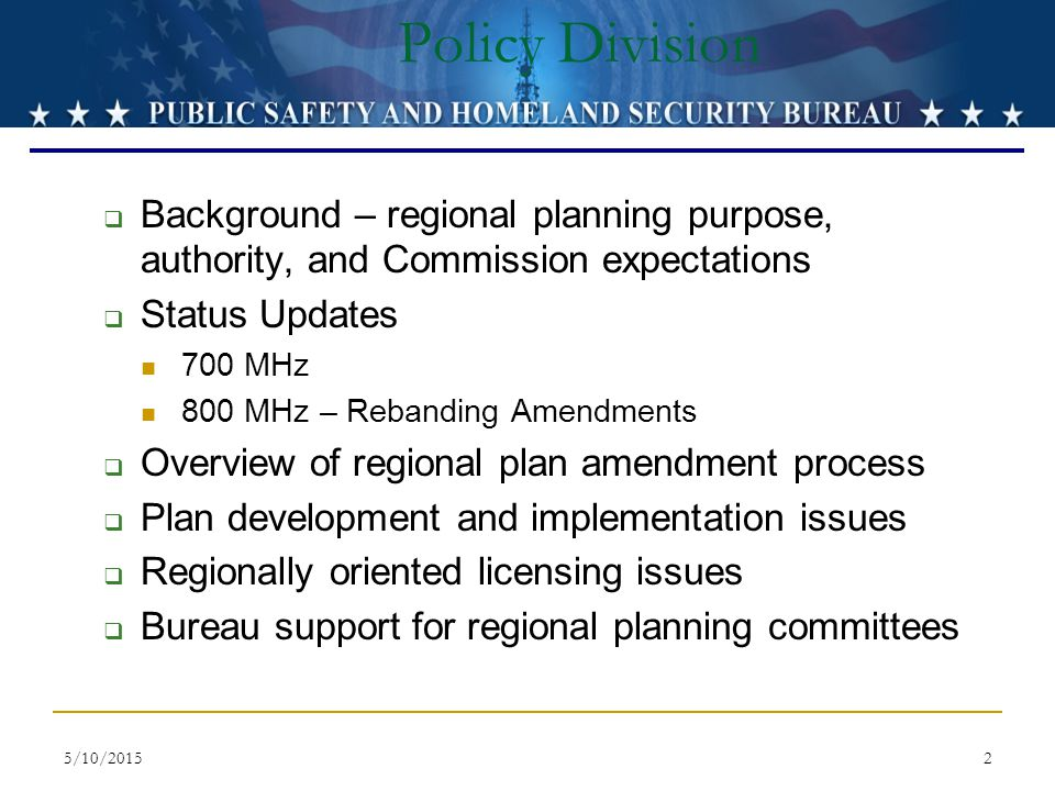 Policy Division Background – regional planning purpose, authority, and Commission expectations. Status Updates.