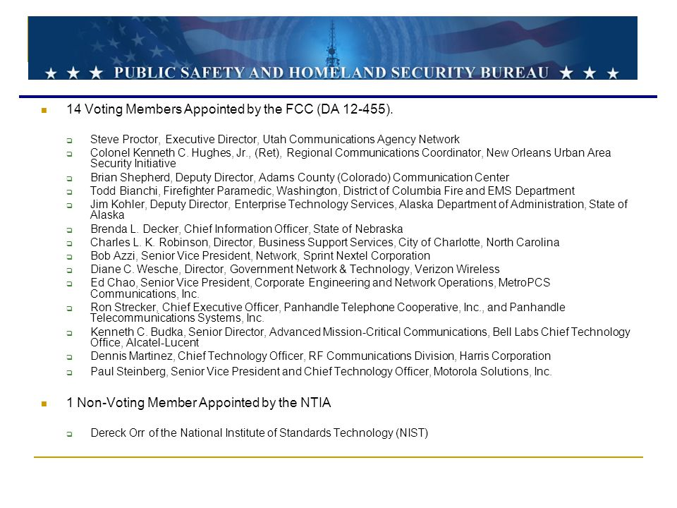 14 Voting Members Appointed by the FCC (DA 12-455).