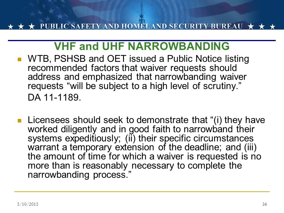 VHF and UHF NARROWBANDING
