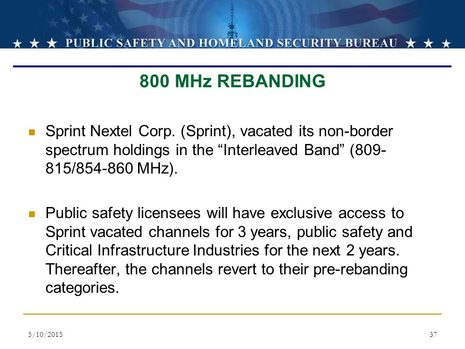 800 MHz REBANDING Sprint Nextel Corp. (Sprint), vacated its non-border spectrum holdings in the Interleaved Band (809-815/854-860 MHz).