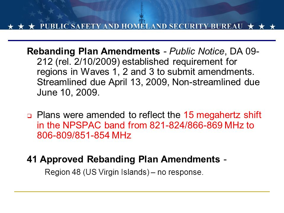 Rebanding Plan Amendments - Public Notice, DA 09-212 (rel