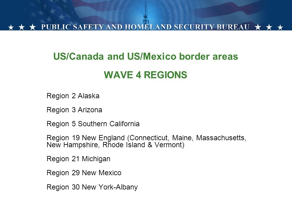 US/Canada and US/Mexico border areas