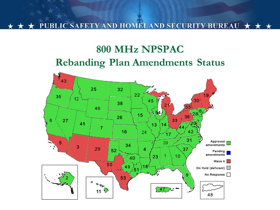 800 MHz NPSPAC Rebanding Plan Amendments Status