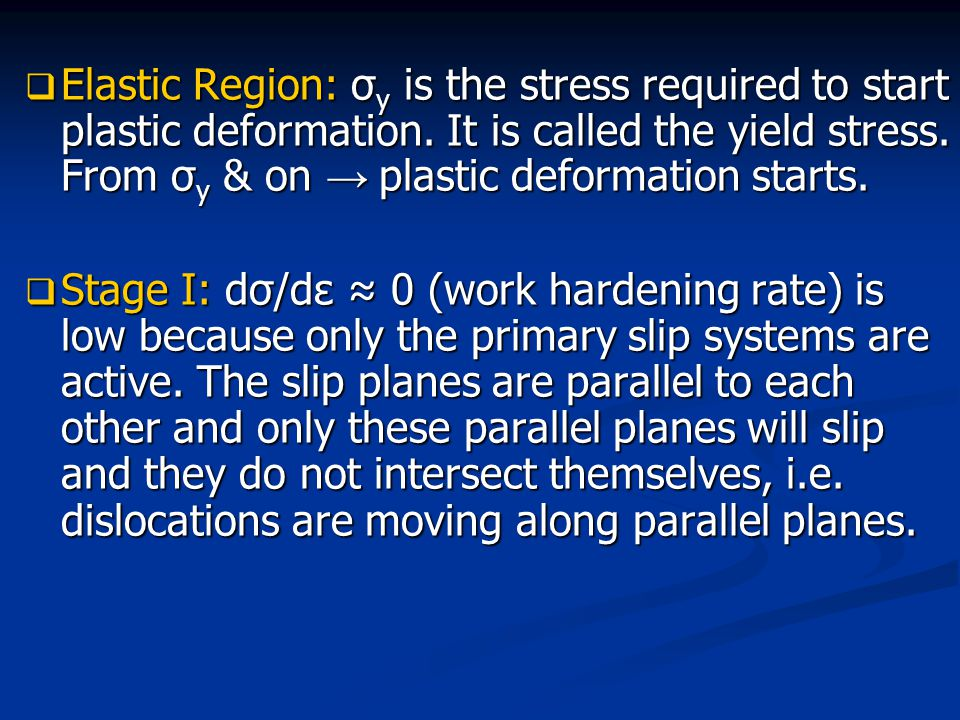 Elastic Region: σy is the stress required to start plastic deformation