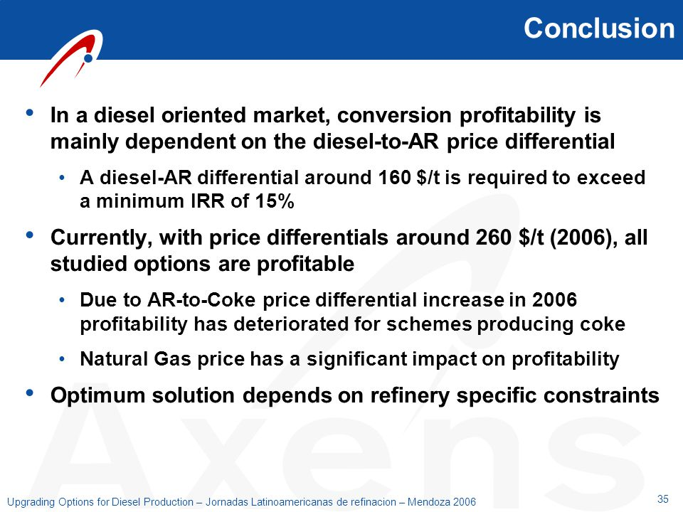 Conclusion In a diesel oriented market, conversion profitability is mainly dependent on the diesel-to-AR price differential.