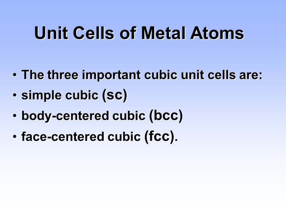 Unit Cells of Metal Atoms
