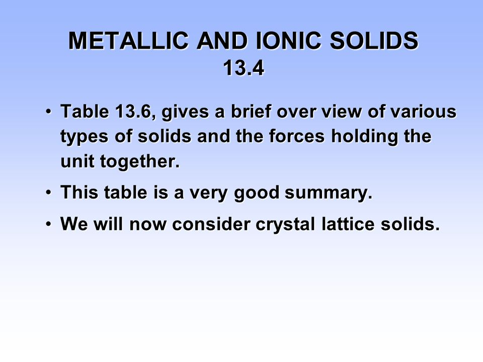 METALLIC AND IONIC SOLIDS 13.4