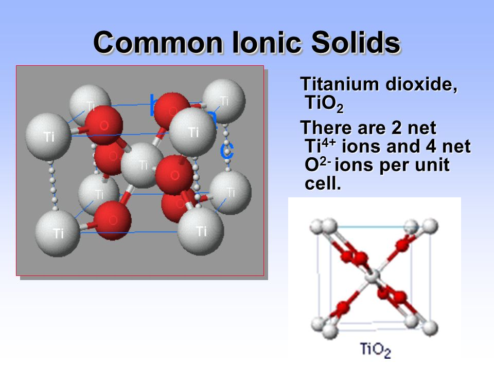 Common Ionic Solids Titanium dioxide, TiO2
