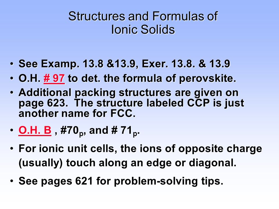 Structures and Formulas of Ionic Solids