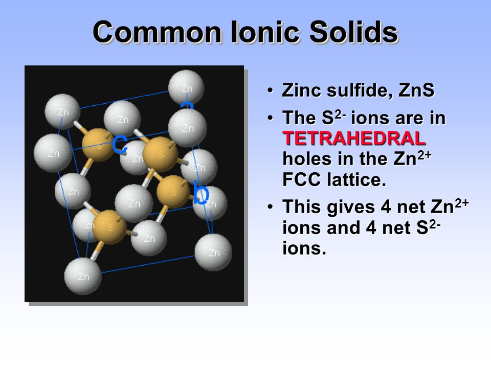 Common Ionic Solids Zinc sulfide, ZnS