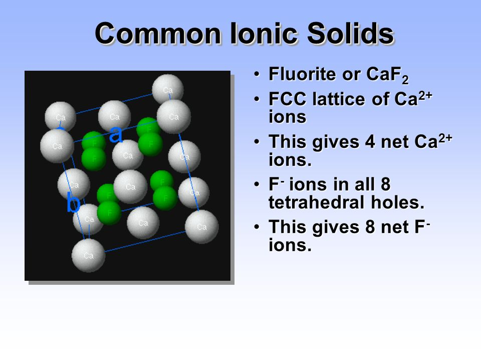 Common Ionic Solids Fluorite or CaF2 FCC lattice of Ca2+ ions