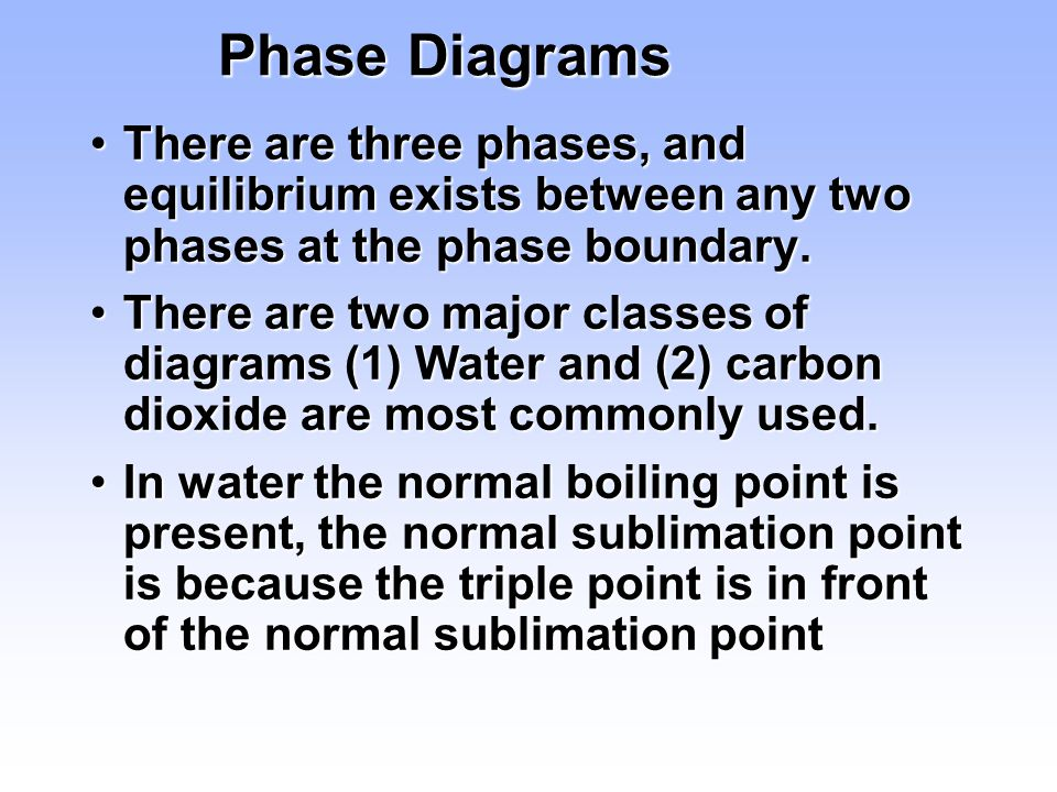 Phase Diagrams There are three phases, and equilibrium exists between any two phases at the phase boundary.