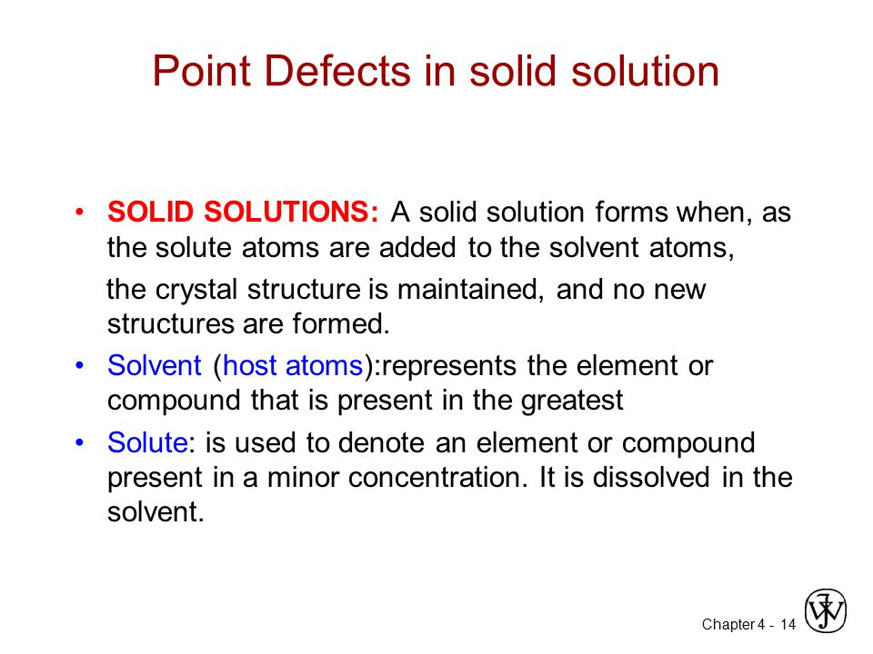Point Defects in solid solution
