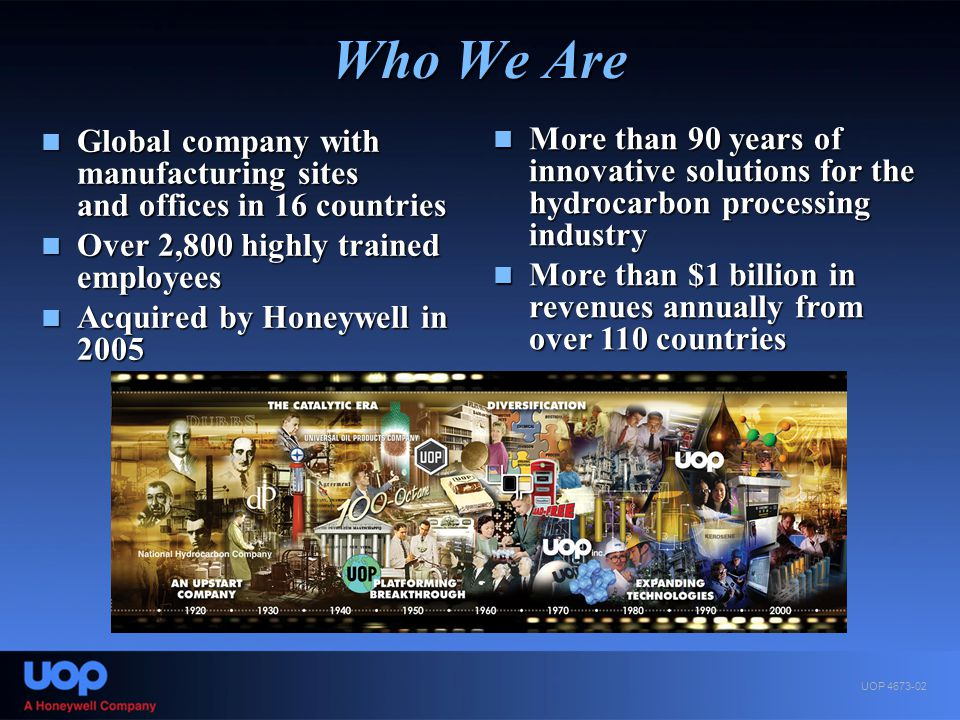 Who We Are Global company with manufacturing sites and offices in 16 countries. Over 2,800 highly trained employees.