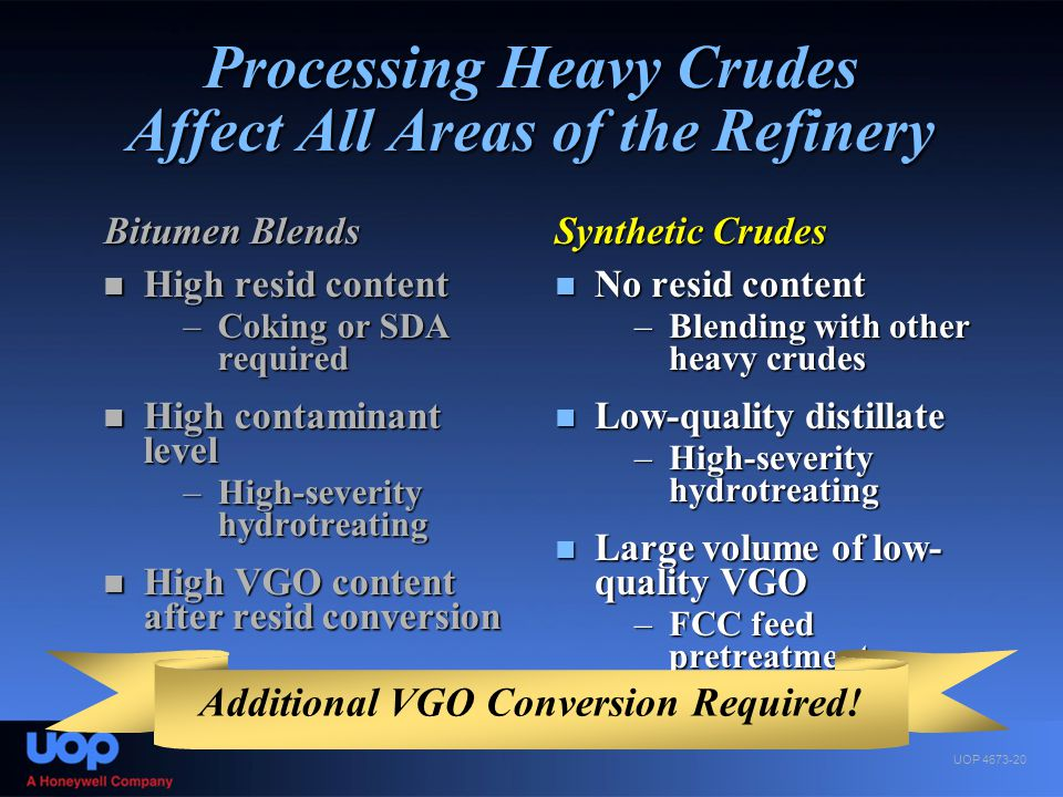 Processing Heavy Crudes Affect All Areas of the Refinery