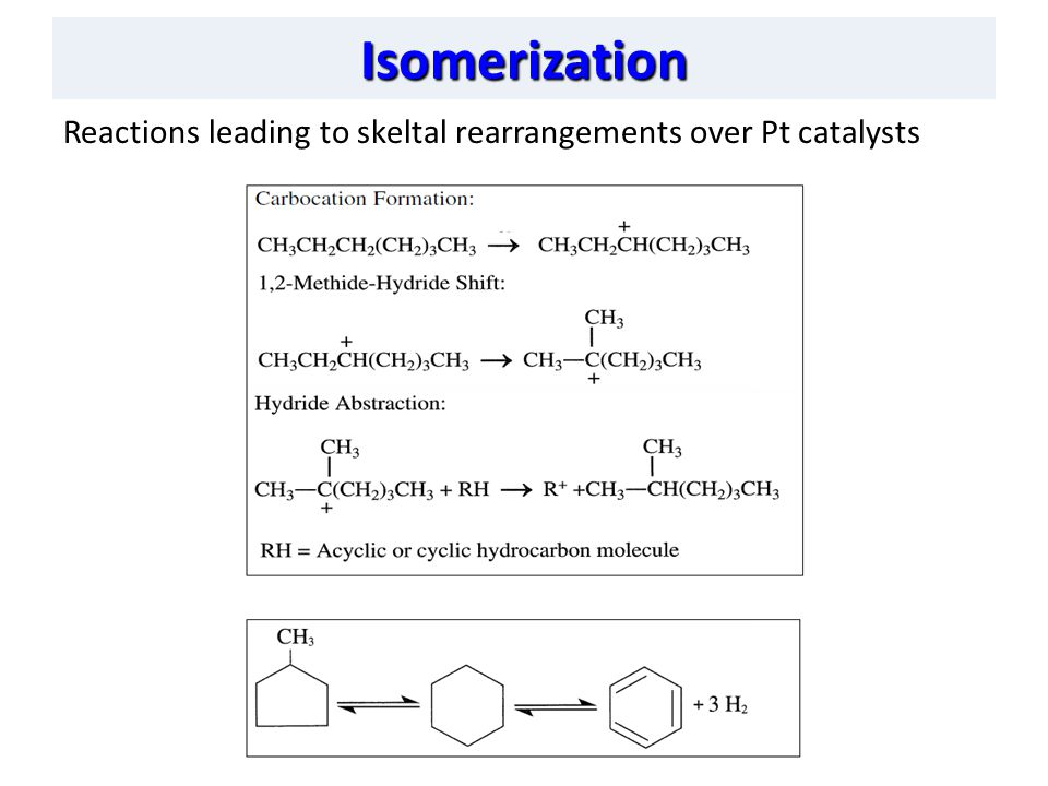 Isomerization Reactions leading to skeltal rearrangements over Pt catalysts